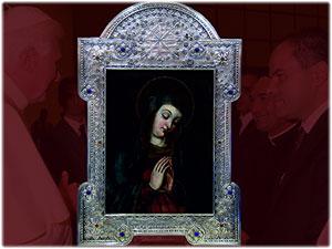 Cornice realizzata per custodire la Tela del 1600 della Madonna del Pozzoleo in Santa Severina