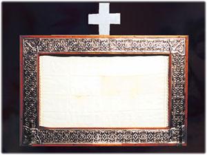 Cornice Reliquiario contenente un fazzoletto di San Padre Pio, Basilica Cattedrale di Crotone