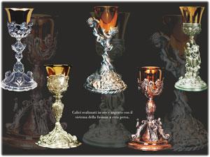 Calici in Oro e Argento realizzati interamente a mano