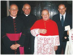 Mons. Pancrazio Limina, Don Bernardino Mongelluzzi, Sua Em.za Cardinale Michele Giordano e Michele Affidato