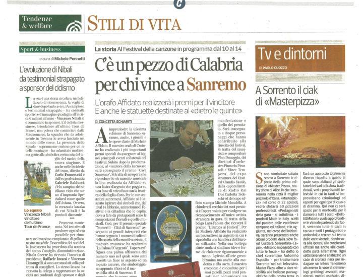 C'è un pezzo di Calabria per chi vince a Sanremo