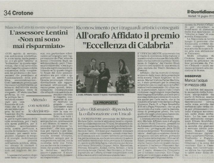 """All'orafo Affidato il Premio """"Eccellenza di Calabria"""""""