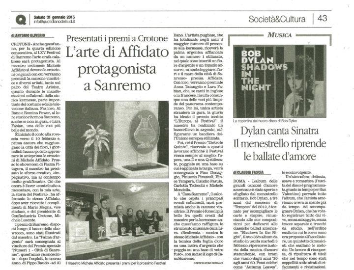L'arte di Affidato protagonista a Sanremo