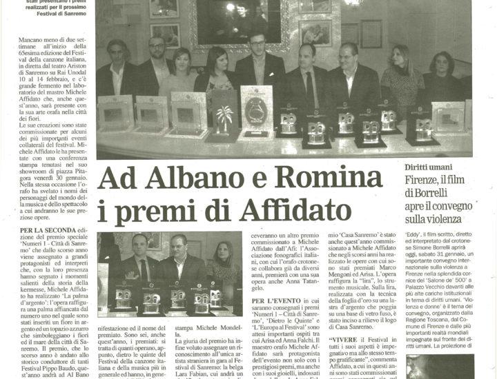 Ad Albano e Romina i premi di Affidato
