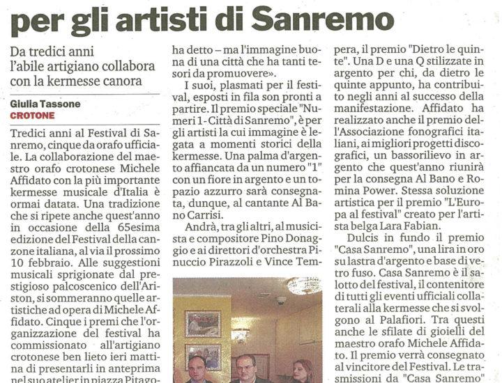 Gioielli e creazioni di Affidato per gli artisti di Sanremo