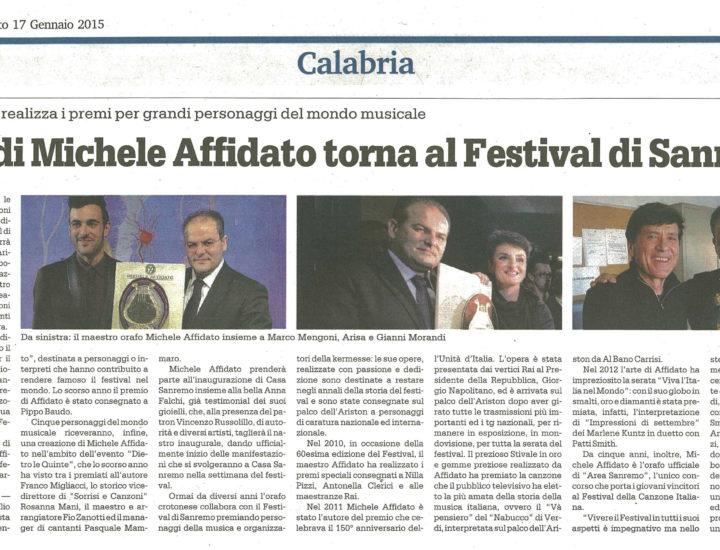 L'arte di michele affidato al Festival di Saremo – Gazzetta