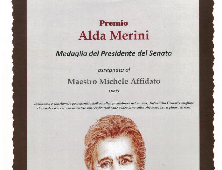 Medaglia del Presidente del Senato al Maestro orafo Michele Affidato