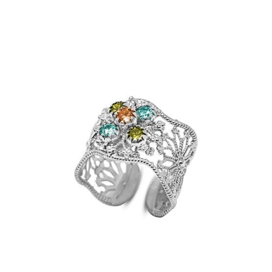 anello a fascia in argento 925 con cristalli colorati di Michele Affidato