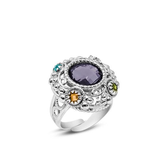 anello in argento 925 con pietra viola centrale di Michele Affidato