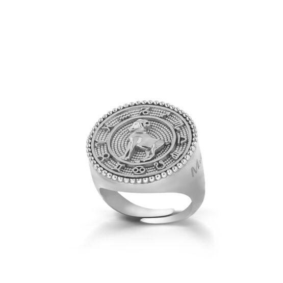 Anello con il segno zodiacale dell'ariete in argento 925 di Michele Affidato