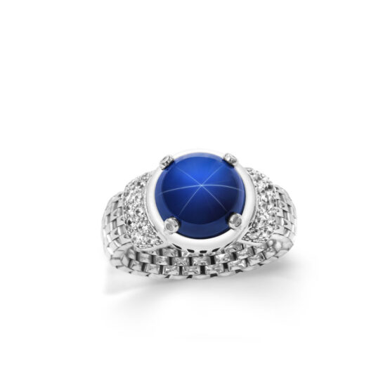 anello maglia morbida con corindone stellato in argento 925 di michele affidato