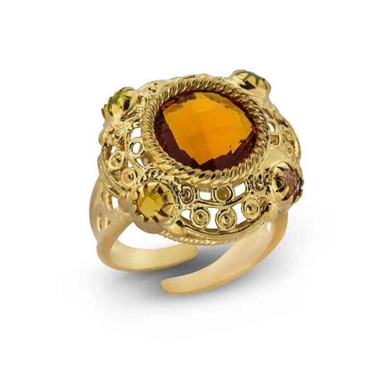 Anello in argento dorato 925° con cristalli multicolore taglio sfaccettato