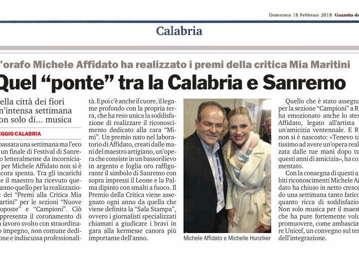 L'orafo Michele Affidato ha realizzato i premi della critica Mia Martini