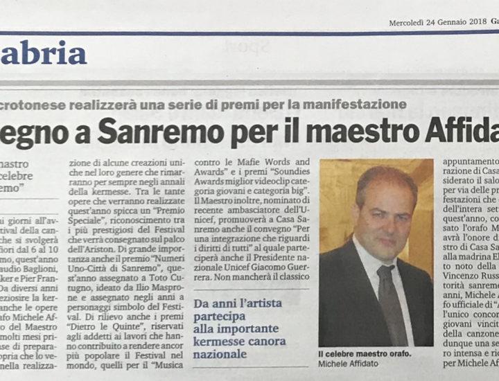 Impegno a Sanremo per il maestro Affidato