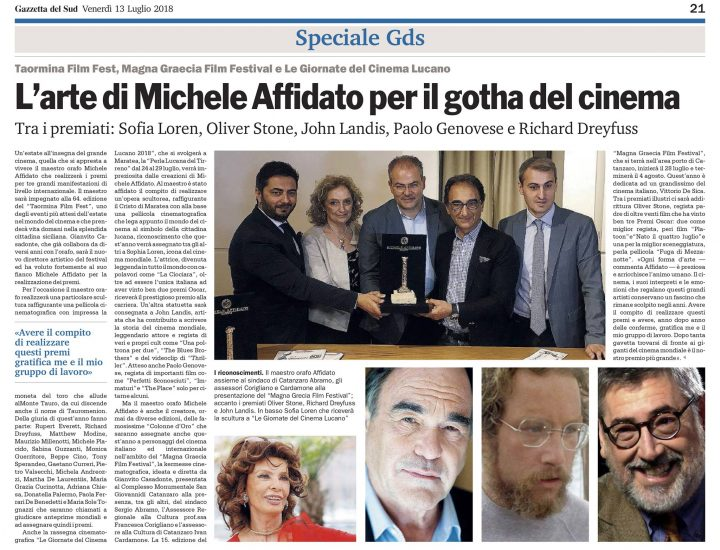 L'arte di Michele Affidato per il gotha del cinema