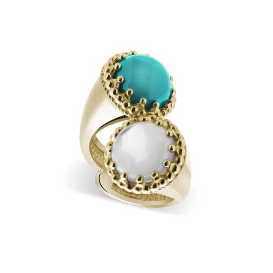 Anello dorato in argento 925 doppio con pietra turchese e madreperla