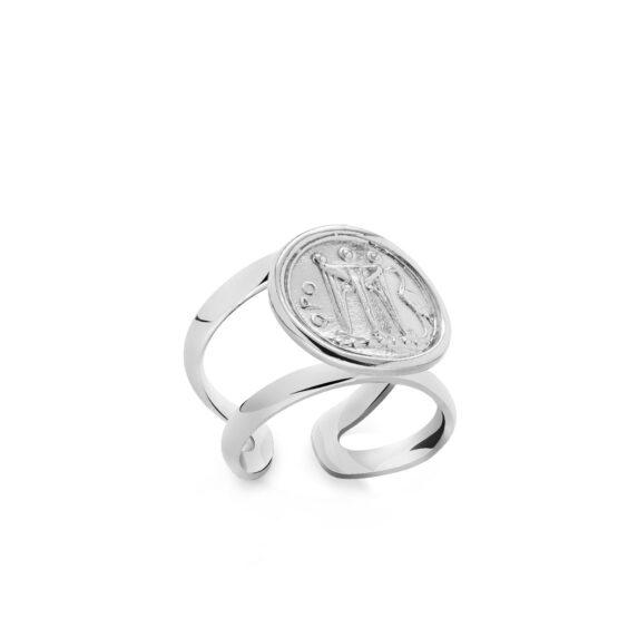 Anello doppio in argento 925 con raffigurazione di moneta greca di Michele Affidato