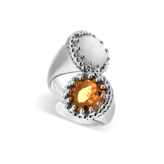 Anello doppio in argento 925 con pietre cristallo e madreperla di Michele Affidato
