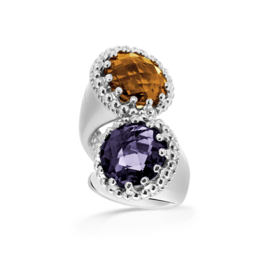 Anello doppio in argento 925 con pietre di cristallo viola e arancione di Michele Affidato