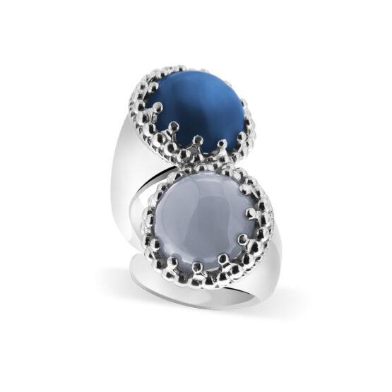 Anello doppio in argento 925 con pietre colorate blu e azzurra di Michele Affidato