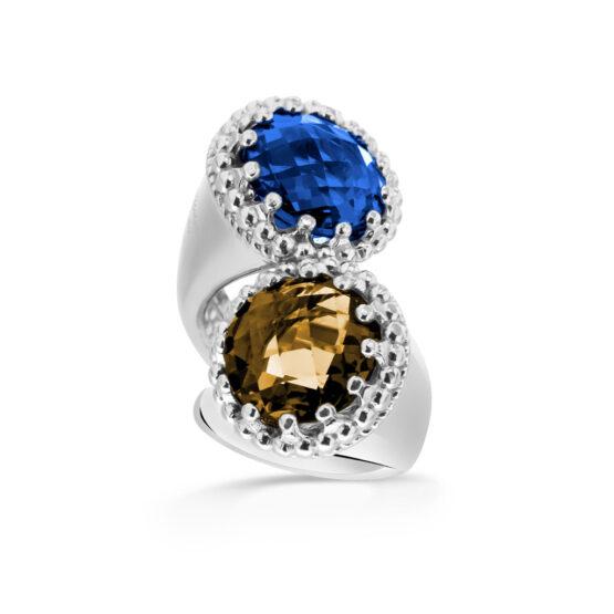 Anello doppio in argento 925 con pietre colorate di cristallo di Michele Affidato