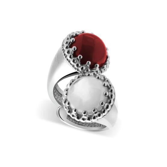 Anello doppio in argento 925 con pietre di corallo rosso e madreperla di Michele Affidato