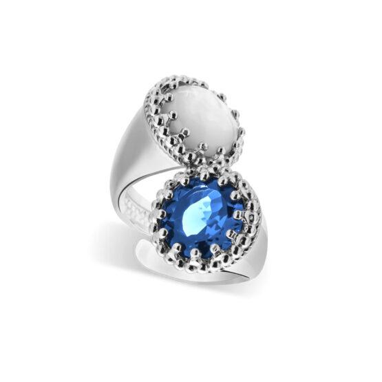 Anello doppio in argento 925 con pietre madreperla e cristallo di Michele Affidato