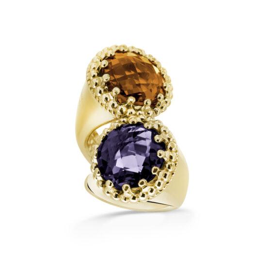 Anello dorato in argento 925 doppio con pietre di cristallo viola e arancione di Michele Affidato