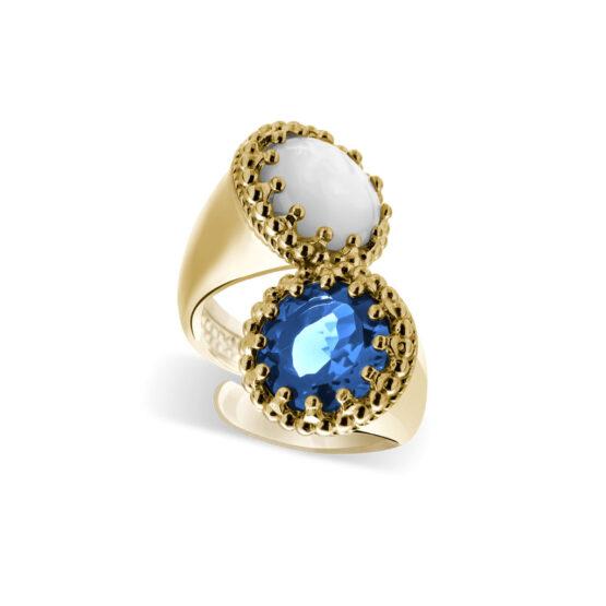 Anello dorato in argento 925 doppio con pietre madreperla e cristallo azzurro di Michele Affidato