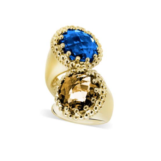 Anello dorato in argento 925 doppio con pietre colorate di cristallo di Michele Affidato