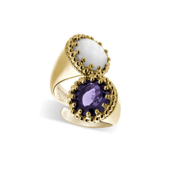 Anello dorato in argento 925 doppio con pietra viola e madreperla di Michele Affidato