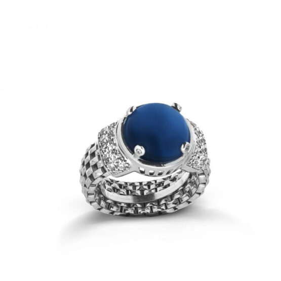 anello a maglia morbida con pietra cianite in argento 925 di Michele Affidato