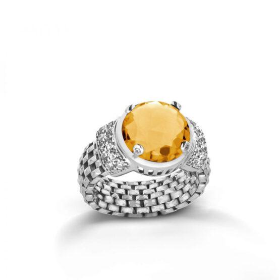 anello a maglia morbida con cristallo giallo in argento 925 di Michele Affidato