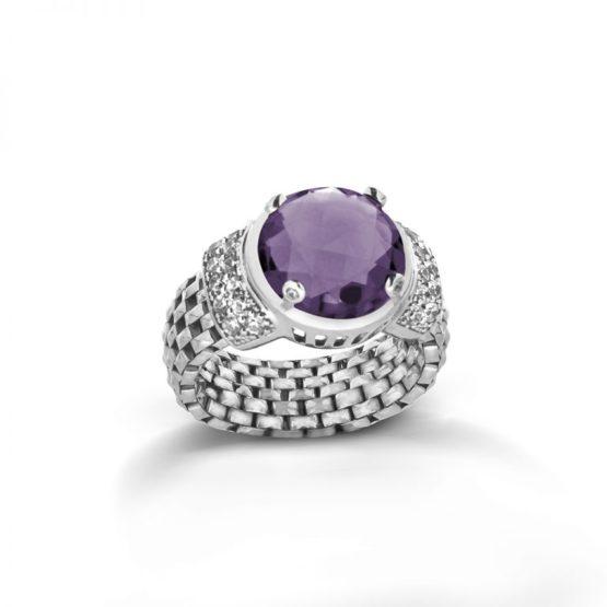 anello a maglia morbida con cristallo viola in argento 925 di Michele Affidato