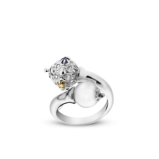 Anello con perla e cristalli colorati in argento di Michele Affidato