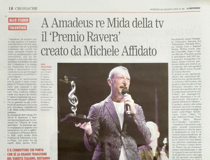 """A Amadeus re Mida della tv il """"Premio Ravera"""" creato da Michele Affidato"""