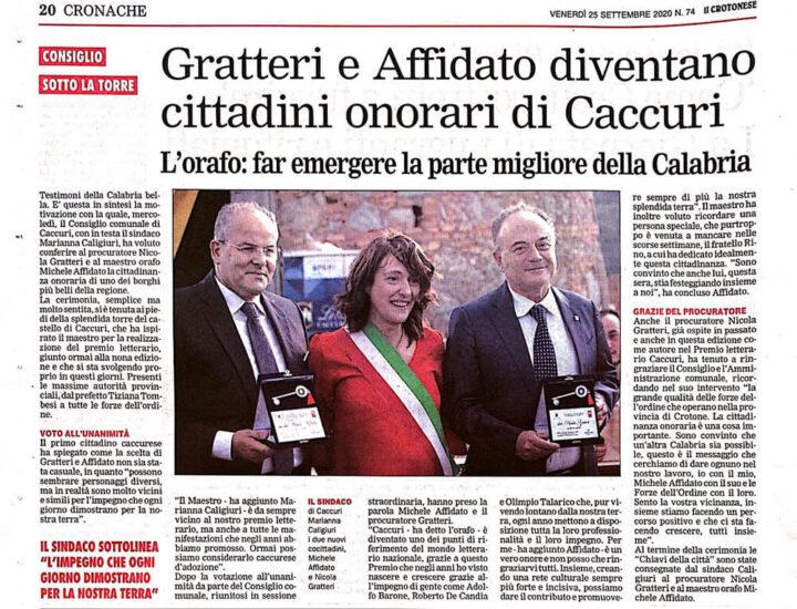 Nicola Gratteri e Michele Affidato diventano cittadini onorari di Caccuri